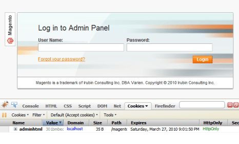 Magento's Admin Panel Login with a cookie being generated upon loading