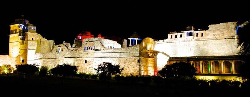 Chittorgarh fort at night