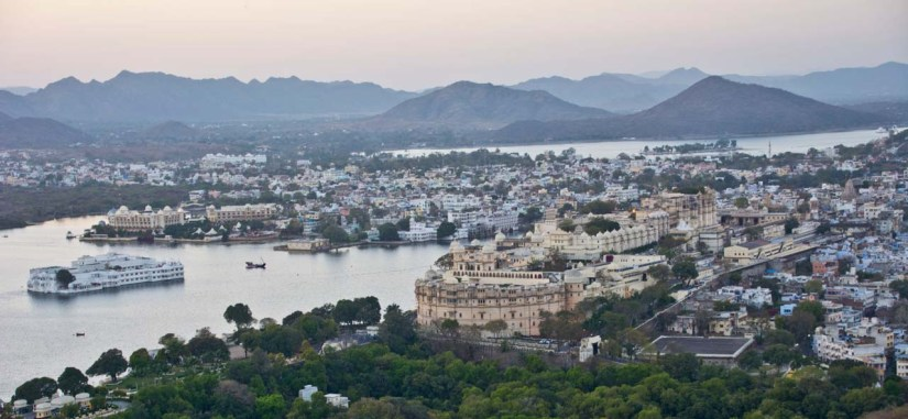 Overview of City Palace and Lake Pichola Udaipur from Ropeway