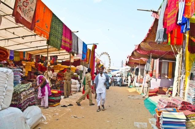 Pushkar camel fair cloth market