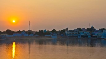 Sunset at Pushkar camel Fair ground