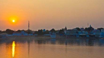 Sunset at Pushkar camel Fair ground