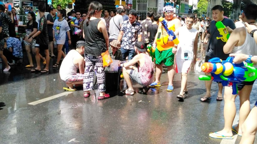 Songkran water guns filling