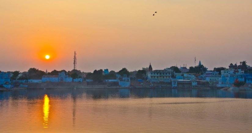 Pushkar lake ghat sunset