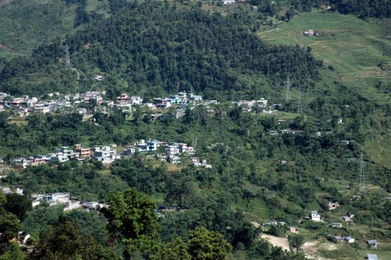 View from peace pagoda trek Pokhara Nepal