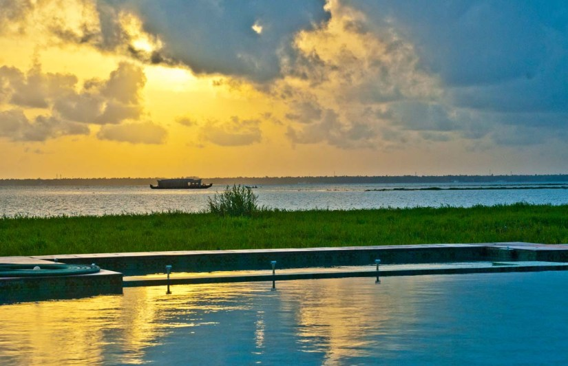 Sunset in Vembanad lake Kerala