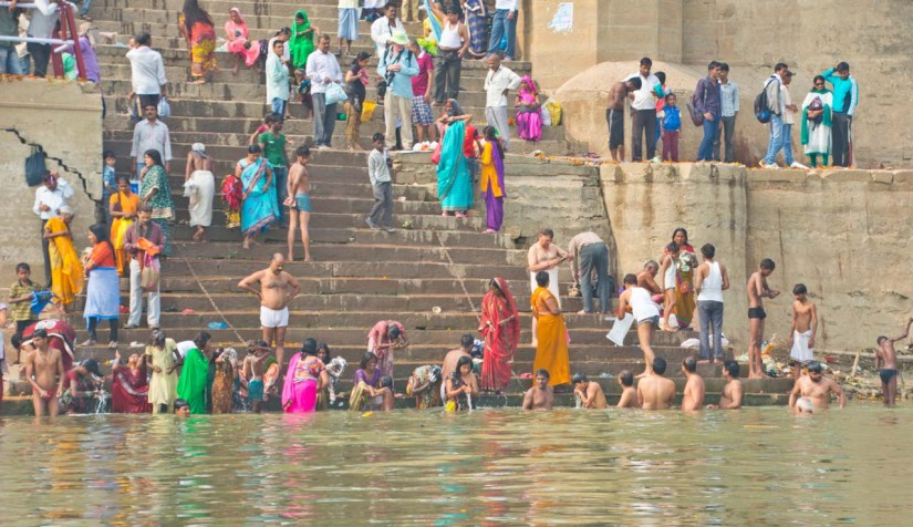 People taking dip in Ganga