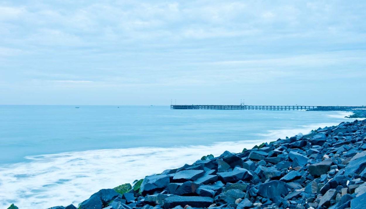 Pondicherry rock beach and pier