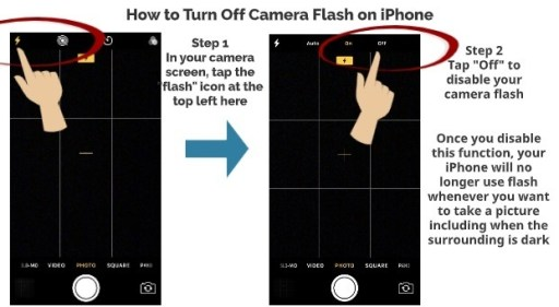 How to turn of camera flash on iPhone step 1 step 2