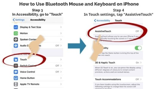 How to use Bluetooth mouse and keyboard on iPhone step 3 step 4