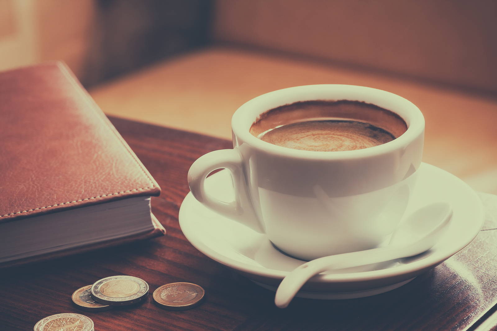 Vintage Stylized Photo Of Coffee Cup, Diary And Coins On Table I