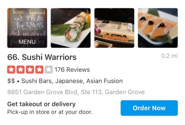 sushi warriors japanese food