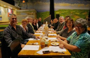 Graduates, current students, and friends of the Social Media Management Certificate Program, at a mid-course dinner held at the Pittsboro Roadhouse.