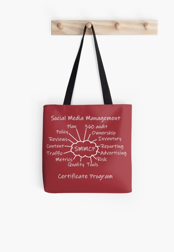 The SMMCP end-of-class mind map on a tote bag.