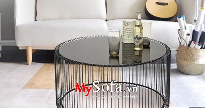 Bàn trà Sofa khung sắt mặt kính sang trọng AmiA BTR163