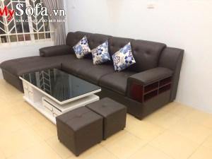 Mẫu ghế Sofa da đẹp kê phòng khách AmiA SFD157