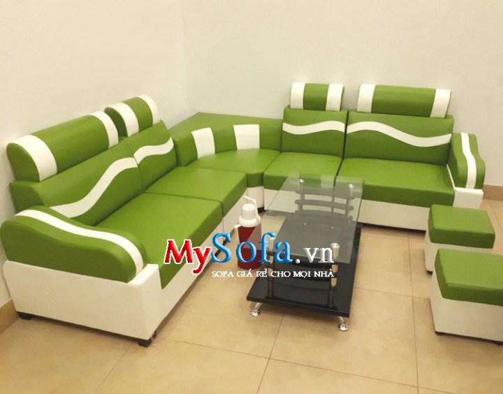 ghế sofa phòng khách giá rẻ mầu xanh cốm