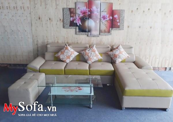 Hình ảnh bộ ghế Sofa góc chất liệu da AmiA SFD153 chụp tại MySofa.vn