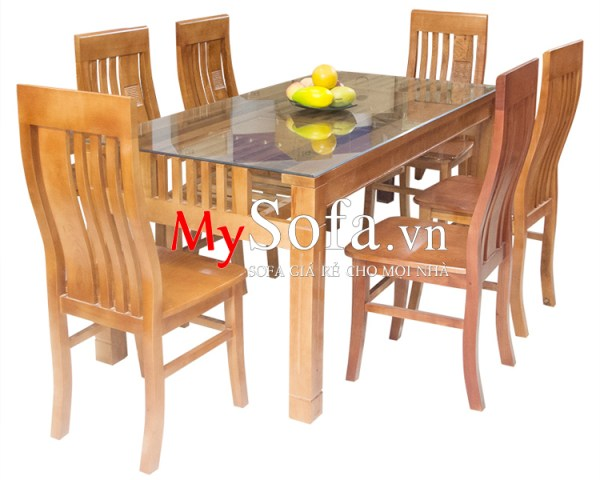 Hình ảnh mẫu bàn ăn gỗ sồi đẹp, giá rẻ AmiA BA010