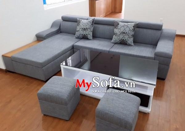 Mẫu Sofa nỉ dạng góc, tay ốp gỗ AmiA SFN092 | mySofa.vn