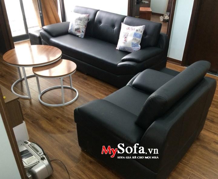 Bộ ghế sofa da màu đen giá rẻ kê phòng giám đốc