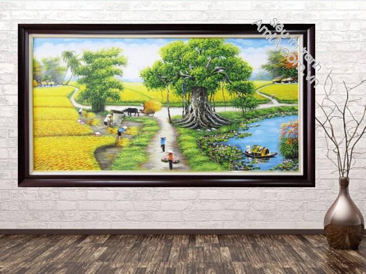 Tranh sơn dầu đẹp vẽ cảnh đồng quê Việt Nam treo phòng khách gia đình