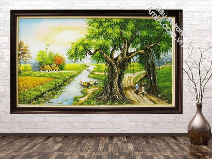 Tranh treo tường phòng khách đẹp vẽ cảnh làng quê
