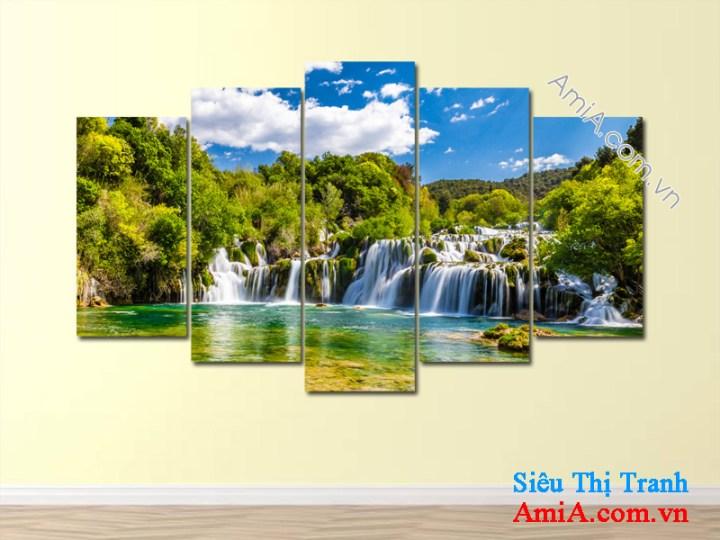 Tranh treo phòng khách đẹp phong cảnh thác nước