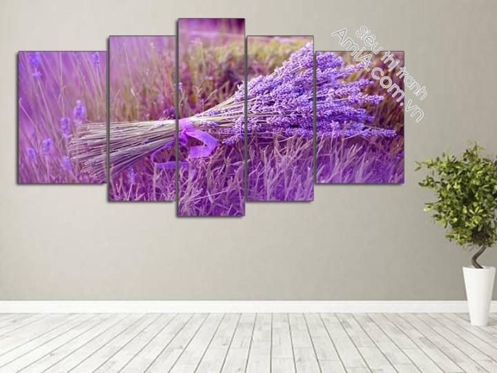 Tranh hoa Lavender ghép bộ nghệ thuật.