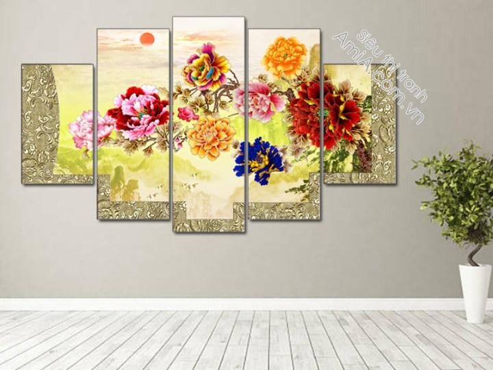 Tranh treo phòng khách hoa mẫu đơn 9 bông đẹp và ý nghĩa