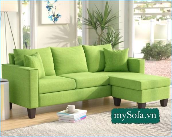 Bộ ghế Sofa góc nỉ màu xanh trẻ trung hiện đại MyS-18699