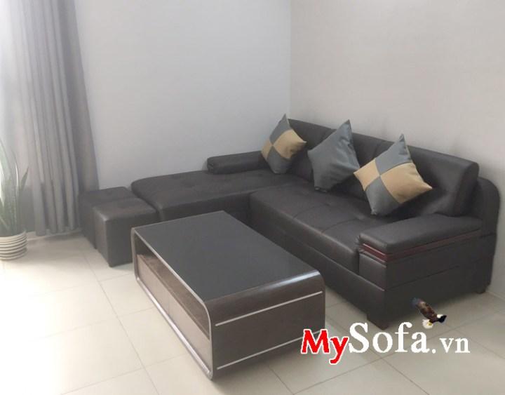 Hình ảnh mẫu ghế sofa chất liệu da màu đen đẹ