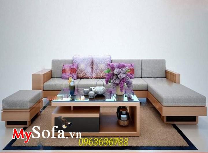 Ghế sofa phòng khách chất liệu gỗ tự nhiên có nệm mút