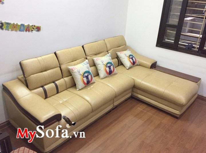 Sofa phòng khách dạng góc chữ L chất liệu da