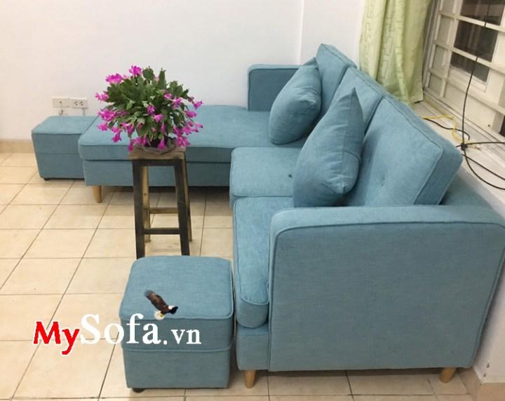 Sofa bọc nỉ vải màu xanh trẻ trung cho phòng khách