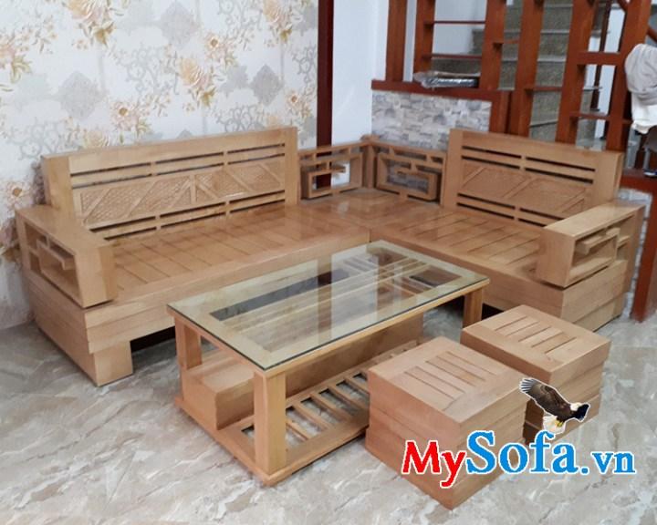Bộ bàn ghế sofa gỗ Sồi đẹp thiết kế hiện đại