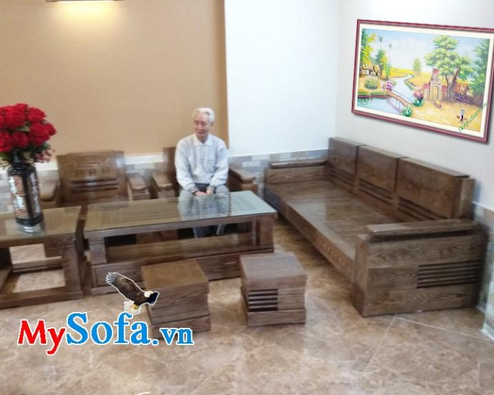 Bộ bàn ghế sofa góc sang trọng bằng gỗ tự nhiên