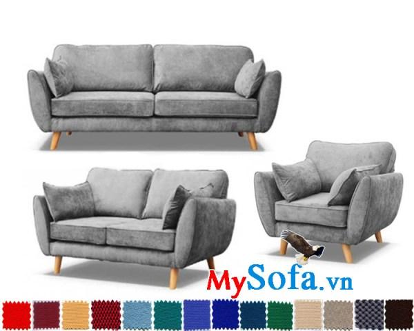 hình ảnh bộ ghế sofa nỉ đẹp hiện đại MYS 619001