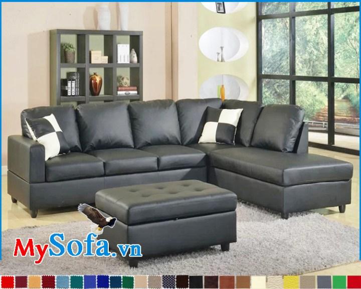 Ghế sofa da màu đen đẹp dạng góc