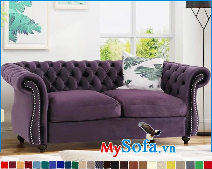 Mẫu ghế sofa bọc vải nỉ màu tím