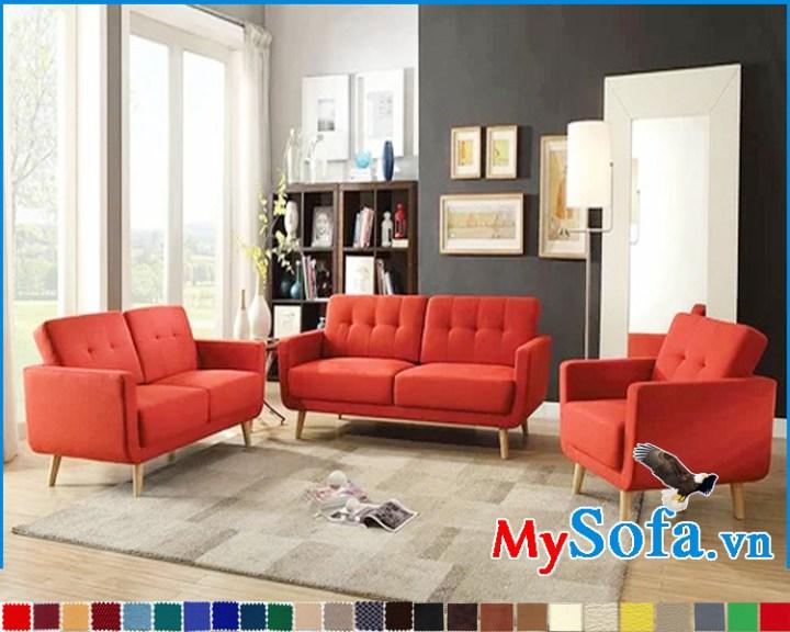 Bộ ghế sofa nỉ màu đỏ đẹp