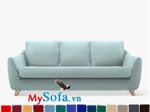 Ghế sofa nỉ màu xanh nhạt dạng văng đẹp thiết kế hiện đại và trẻ trung
