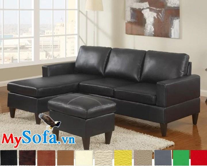sofa góc hiện đại và sang trọng mys 0619236 có thiết kế khá gọn cùng với lớp da đen bóng