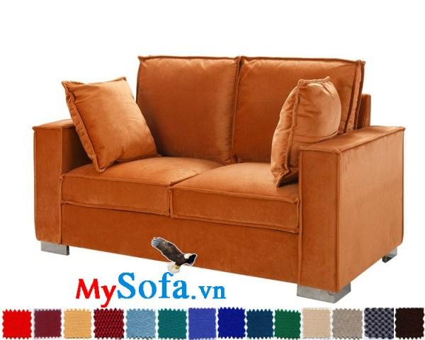 Ghế sofa nỉ màu cam 2 chỗ ngồi