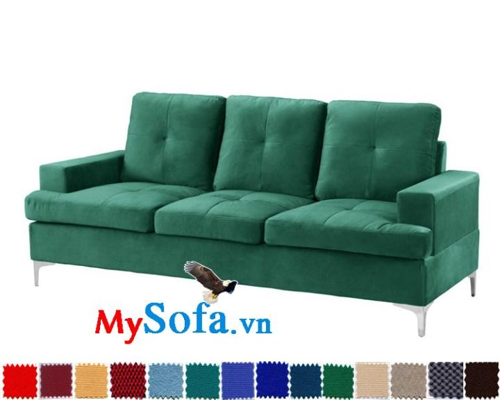Mẫu ghế sofa văng nỉ màu xanh