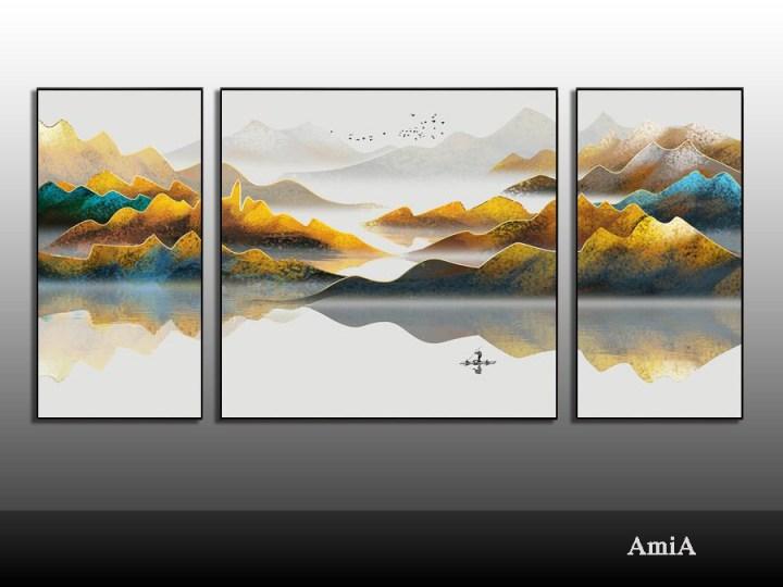 tranh phong thủy đẹp bộ 3 tấm