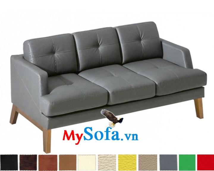 MyS-20011012 Ghế sofa văng da có chân ghế gỗ trẻ trung