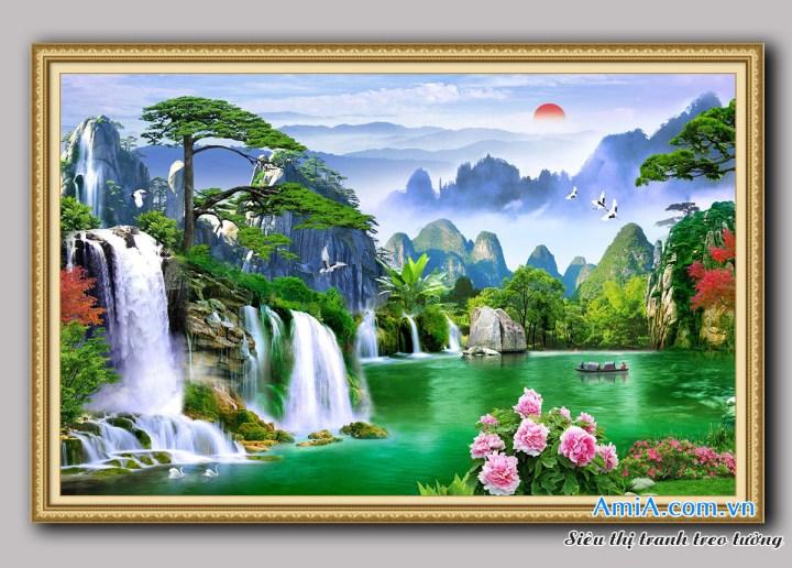 Các mẫu tranh thác nước đẹp phong thủy