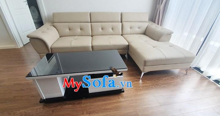 Hình ảnh Ghế sofa da góc chữ L cho phòng khách nhà chung cư