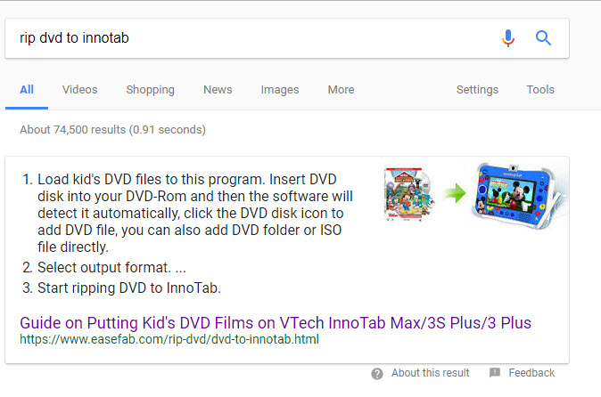 rip dvd to innotab featured snippet google
